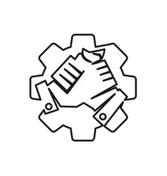 Industry gear handshake commitment teamwork vector