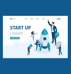 isometric development and startup business vector image