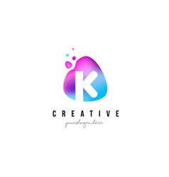 K letter dots logo design with oval shape vector