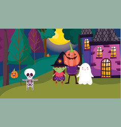 Kids costume trick or treat - happy halloween vector