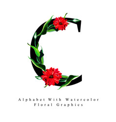 letter c watercolor floral background vector image
