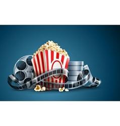 movie film reel and popcorn vector image
