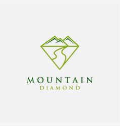 natural diamond logo mountain and river landscape vector image