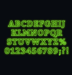 neon green font bright capital letters with vector image