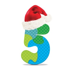 Number 5 written with alphabet puzzle vector