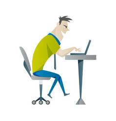 office work and remote work freelance young man vector image