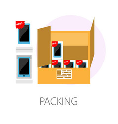 Packing smartphones consignment in box development vector