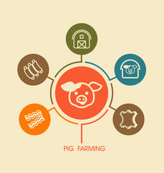 Pig farming icon and agriculture infographics vector
