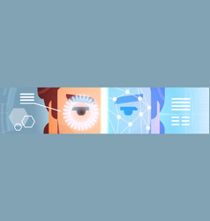 Recognition scanning of male eye retina horizontal vector