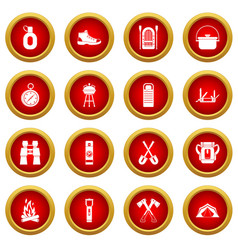 Recreation tourism icon red circle set vector