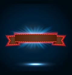 Ribbon retro background light banner vector