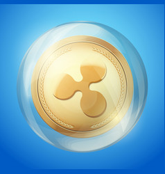Ripple xrp symbol coin in bubble vector