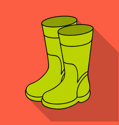 rubber boots icon in flat style isolated on white vector image
