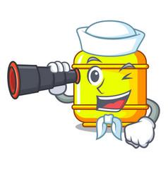 Sailor with binocular creative in gas cartoon tank vector