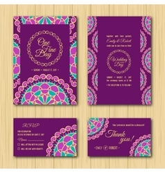 Save the date and RSVP cards Wedding invitation vector
