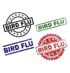 scratched textured bird flu seal stamps vector image