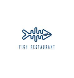 Seafood restaurant emblem with skeleton fish vector