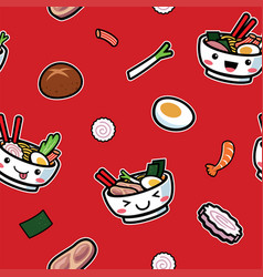 seamless pattern japanese food vector image