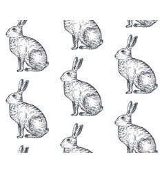 Seamless pattern with hand drawn rabbits vector