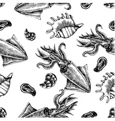 Seamless pattern with squid and clams marine vector