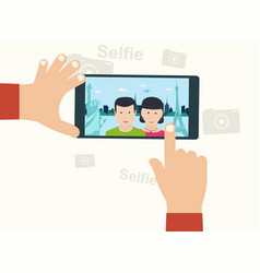Selfie photo on smart phone oncept on white vector