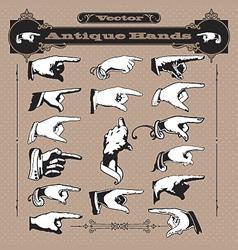Set antique hands vector