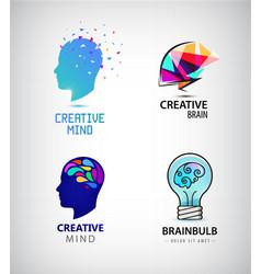 set creative mind brainstorm brain vector image
