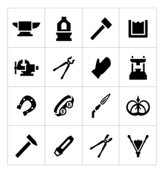 Set icons of forge vector image