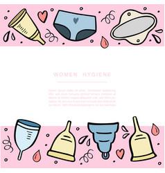 Set menstrual cups period cup handdrawn vector