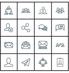 Set of 16 social icons includes web profile vector