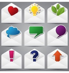 Set of paper envelopes and sign inside vector image