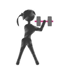 Silhouette girl dumbbell fitness vector
