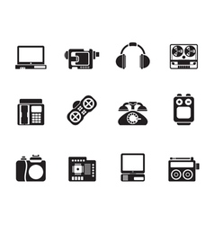 Silhouette media and technical equipment icons vector image