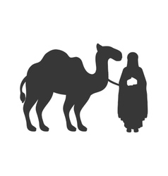 silhouette wise man with camel icon flat vector image