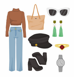 Simple women fashion style items set vector