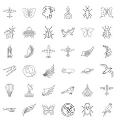spaceship icons set outline style vector image