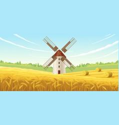 Summer mill landscape composition vector