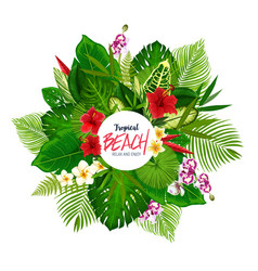 Summer tropical palm leaves and flower poster vector