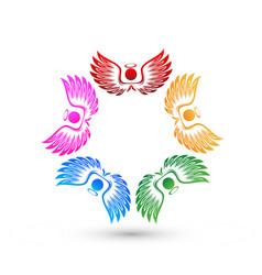 teamwork angel people icon vector image
