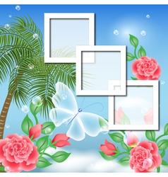 Tropical Floral Frame Background vector image