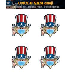 Uncle sam emoji - expression set - surgical mask vector