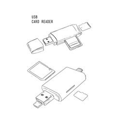 Usb card reader hand draw sketch vector