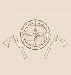 viking axes and shield hand drawn sketch on beige vector image