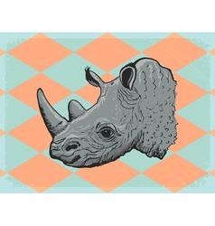 Vintage grunge background with rhinoceros vector