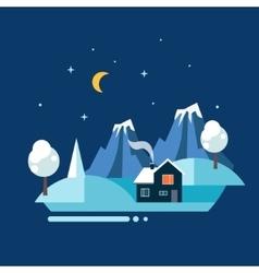 Winter Village landscape vector
