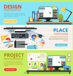 Workspace for computer designers and graphic vector