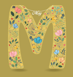 Yellow letter m with floral decor and necklace vector