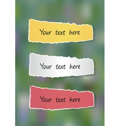 A set of colored pieces of paper on a green vector image vector image