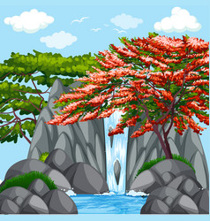 background scene with trees at waterfall vector image vector image