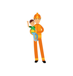 fireman character in uniform and protective helmet vector image